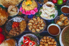 Feast of Uzbek meals